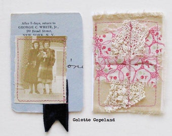 Artist Trading Cards, ATCs, one pair, original art, vintage paper and fabric