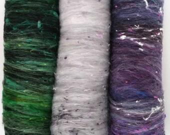 Smoothish Art Batt Set- 'J27-05'- 5.4 oz Spinning, Felting, Weaving, Papermaking Fiber