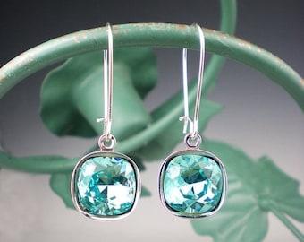 SUMMER SALE Light Turquoise Rhinestone Earrings Wedding Jewelry Bridesmaid Earrings Swarovski Aqua Teal