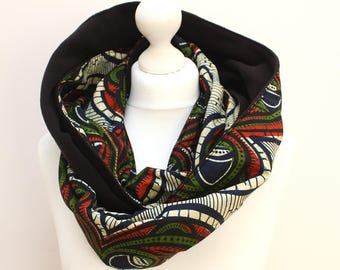 Wax Print Scarf, Snood scarf, Green and Red Wave Print Scarf, Ankara Scarf, Afrocentric scarf, African print scarf, African winter scarf