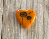 Orange Fused Glass Paperweight, Dandelion, Flower Decal, Heart Paperweight