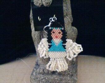 Native American 'Indian Maiden' Seed Bead Earrings