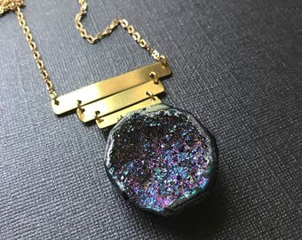Purple Blue Agate Titanium Druzy And Brass Necklace