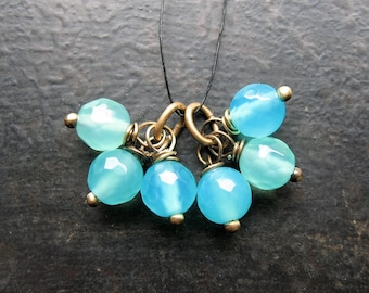 Faceted Aqua Agate Bead Charms - 1 Pair - 15mm in length