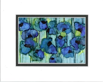 alcohol ink art painting, blue florals and green with double mat, original, alcohol ink art, modern art