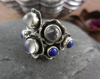 Moonstone & lapis gemstone sterling silver ring - size 6.50