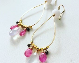 Rose Garden Teardrop Hoops, Pink Sapphire and Ice Quartz