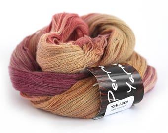 Pure yak lace yarn, handdyed laceweight 100% yak knitting crochet Perran Yarns Sunset Party orange plum gold variegated yarn skein uk seller
