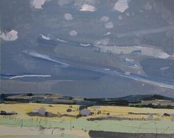 Yellow Field, Original Late Autumn Landscape Painting on Paper, Stooshinoff