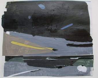 Lake Ontario, West Beach, Original Abstract Landscape Collage Painting on Paper, Stooshinoff