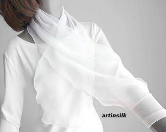 Pure Optic White Small Neck Scarf Sheer Silk Chiffon Ponytail Hair Scarf, Blue Girl Scarf, White Hat Ribbon, Black Headband, Artinsilk.