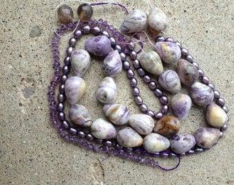 amethyst beads with matrix, large