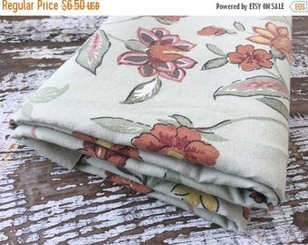 MEMORIAL DAY SALE- Green Floral Fabric-  Reclaimed Vintage Bed Linens Fabric-