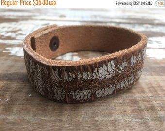 CRAZY SALE- Custom Leather Cuff-Create Your Own-Worn Leather-Word Cuff-Chippy Paint