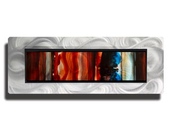 Red & Blue Contemporary Wall Accent, Modern Metal Art, Abstract Metal Wall Painting, One of a Kind Modern Home Decor - JC 503F by Jon Allen