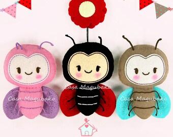 PDF Felt Pattern - Ladybug Sewing Pattern - Felt Ladybug + Felt Flower - PDF Ladybug Pattern - Ladybug Ornament - Nursery Decoration