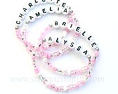 BEST SELLER - Personalized Name Bracelet. Party Favor Name bracelet. Children's Name Bracelet. Pink beaded bracelet. Baby thru Adult Sizes
