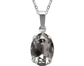 Swarovski Crystal Oval Pendant Necklace Sterling Silver Black Diamond or CHOICE OF COLOURS
