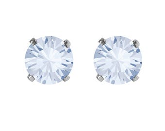 Swarovski Crystal Stud Earrings Sterling Silver Blue Shade – CHOICE OF COLOURS