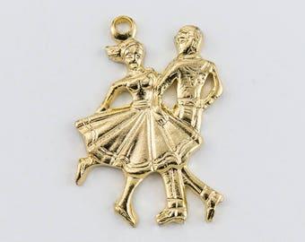 25mm Gold Dancing Couple Charm  #1166B