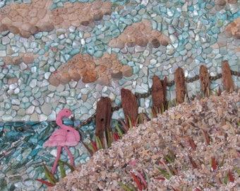 Pink Flamingo Seascape, Seashell Mosaic Wall Art, Ocean Nautical Decor, Tropical Decor, Coastal Beach Painting, Island Style Restaurant Art