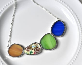 Cluster Broken China and Stained Glass Jewelry Necklace  - Blue Yellow and Green Bike