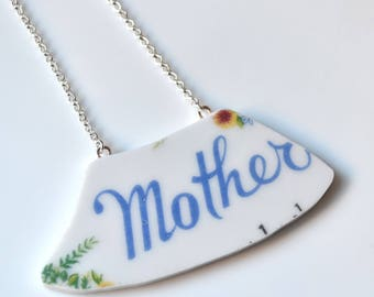 Wide Rim Broken China Jewelry Necklace  - Blue Mother