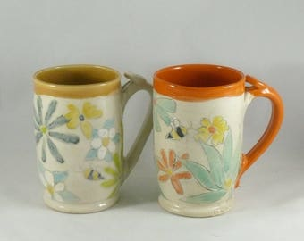 Set of Two Ceramic Coffee Mugs, Save the Bees Anniversary Gift Cups, Large Ceramic Tea Cups or Tankard, Beer Stein, Latte or Cappucino Mugs