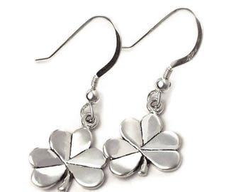 Irish Shamrock Earrings Sterling Silver Iconic Symbol of Ireland Boxed
