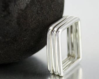 ON SALE TODAY Sterling Silver Square Ring, Stacking Ring, Geometric Ring