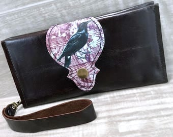 Leather Long Wallet fits Passport/ Phone with Wrist Strap & Zipper Pocket, Dark Brown / Raven Print on 100% Genuine Leather