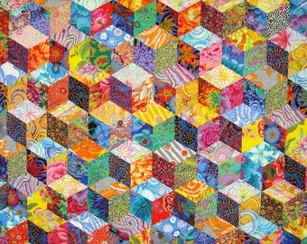 Patchwork Twin Size Quilt  -  Tumbling Blocks Pattern - Kaffe Fassett Prints