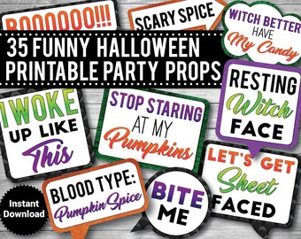 35 -  Funny Halloween Photo Booth Props, PRINTABLE Props, Funny Adult Props, Drinking props, INSTANT DOWNLOAD