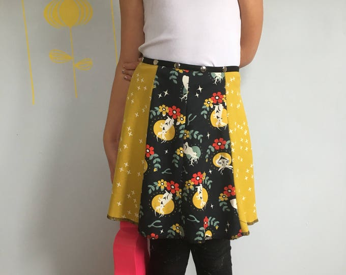Child Skirt, Snap Around Adjustable Skirt, Erin MacLeod, jackalope skirt, organic
