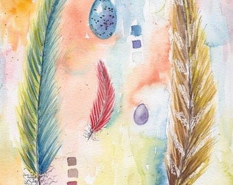 Bird Feather and Egg Watercolor