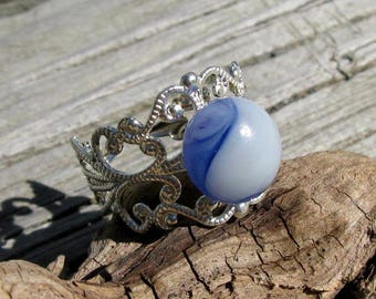 Fused Glass Clouds Filigree Ring