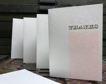 Many Thanks Gold Foil Letterpress Thank You Cards - Set of 4