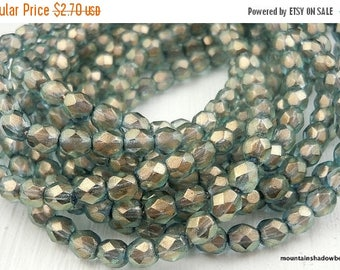 25% OFF Sale 4mm Czech Beads - Halo Shadows Firepolished Faceted 50 pcs (G - 40)