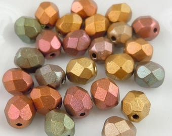 20% Summer SALE Czech Glass Bead 6mm Smooth Round Bead - Metallic Bronze Iris - 25 (G- 508)