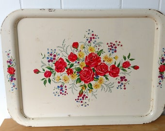 vintage shabby chic floral metal tray