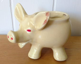 vintage pale yellow pig planter