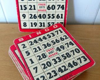 12 red vintage Bingo cards