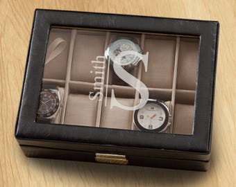 Men's Personalized Leather Watch Box | Monogrammed Mens Watch Case | Personalized Watch Box | Gifts for Guys | Personalized Women Watch Case