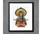 Cowgirl with Pistols / Vaquera Sudoeste (Red) Print by Dolan Geiman