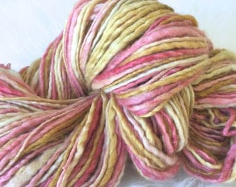 Yarn Handspun, Bulky- ENGLISH ROSE- Bluefaced leicester/silk ,crochet, knit supplies,weaving, supplies, doll hair 160yds. Free Shipping