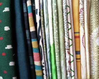Japanese Craft Supply Fabric, Mix of 23 Green Most Silk Vintage Kimono Textile, For Crazy Quilt, Doll Making, etc.