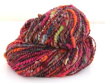 Handspun Art Yarn Corespun Merino Angelina Silks Nylon 130g 110 Yards