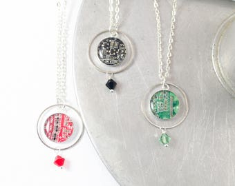 Circuit Board Orb Necklace, Computer Jewelry, Circuit Board Jewelry, Geometric Necklace, Engineering Gift for Her, Wearable Technology