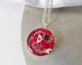 Circuit Board Necklace Red, Upcycled Computer Jewelry, Motherboard Necklace, Geeky Gift for Her Under 30, Wearable Technology, Engineer GIft
