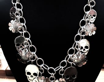 Coin Necklace Skull and Daisy Flower Pendants made from 13 Vintage American Silver Coins Quarters Dollar
